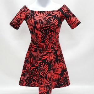 Zara Woman Red & Black Palm Frond Dress